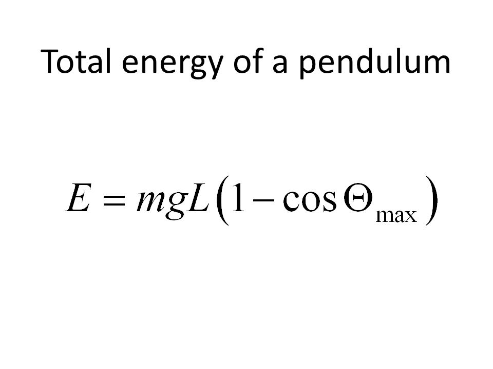 Total energy of a pendulum