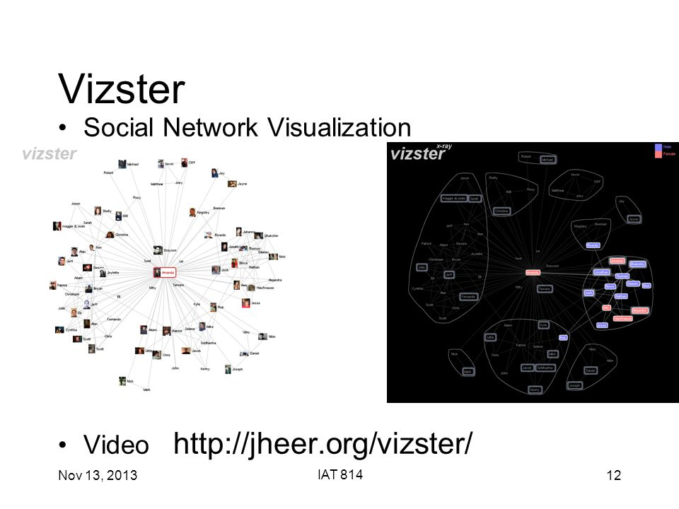 Nov 13, 2013 IAT 814 12 Vizster Social Network Visualization Video http://jheer.org/vizster/