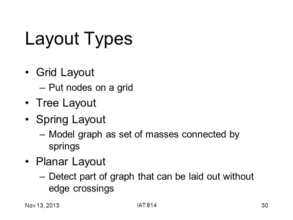 Nov 13, 2013 IAT 814 30 Layout Types Grid Layout –Put nodes on a grid Tree Layout Spring Layout –Model graph as set of masses connected by springs Planar Layout –Detect part of graph that can be laid out without edge crossings
