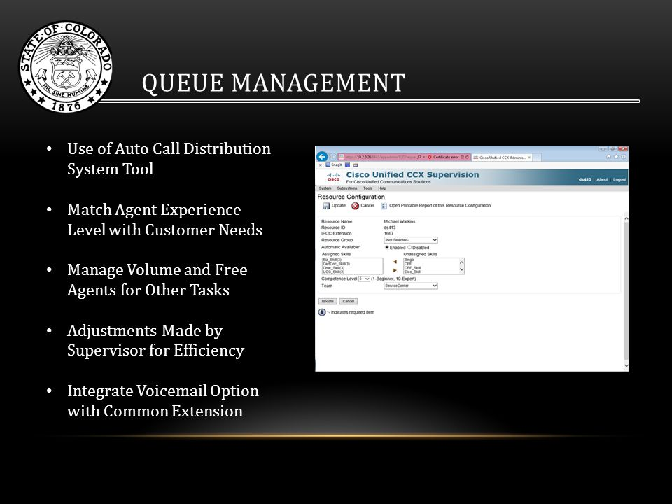QUEUE MANAGEMENT Use of Auto Call Distribution System Tool Match Agent Experience Level with Customer Needs Manage Volume and Free Agents for Other Tasks Adjustments Made by Supervisor for Efficiency Integrate Voicemail Option with Common Extension