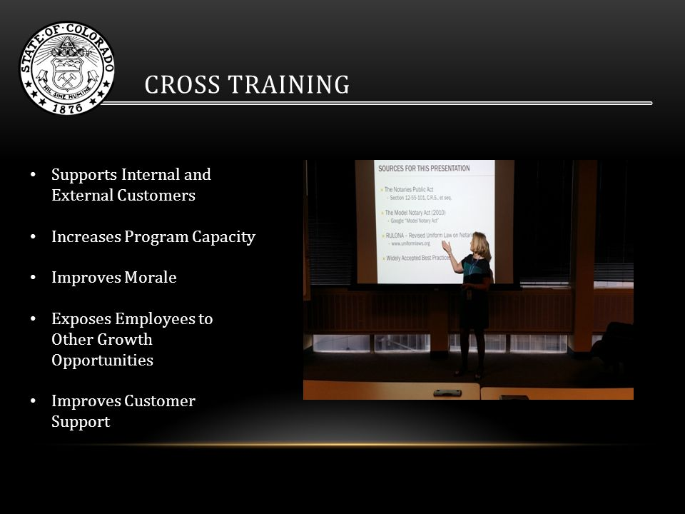 CROSS TRAINING Supports Internal and External Customers Increases Program Capacity Improves Morale Exposes Employees to Other Growth Opportunities Improves Customer Support