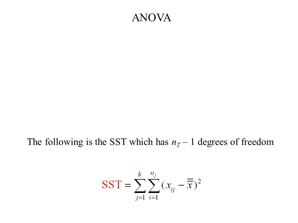 The following is the SST which has n T – 1 degrees of freedom