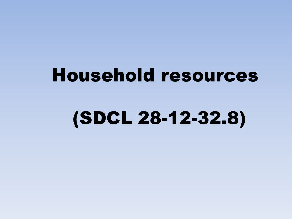 Household resources (SDCL 28-12-32.8)