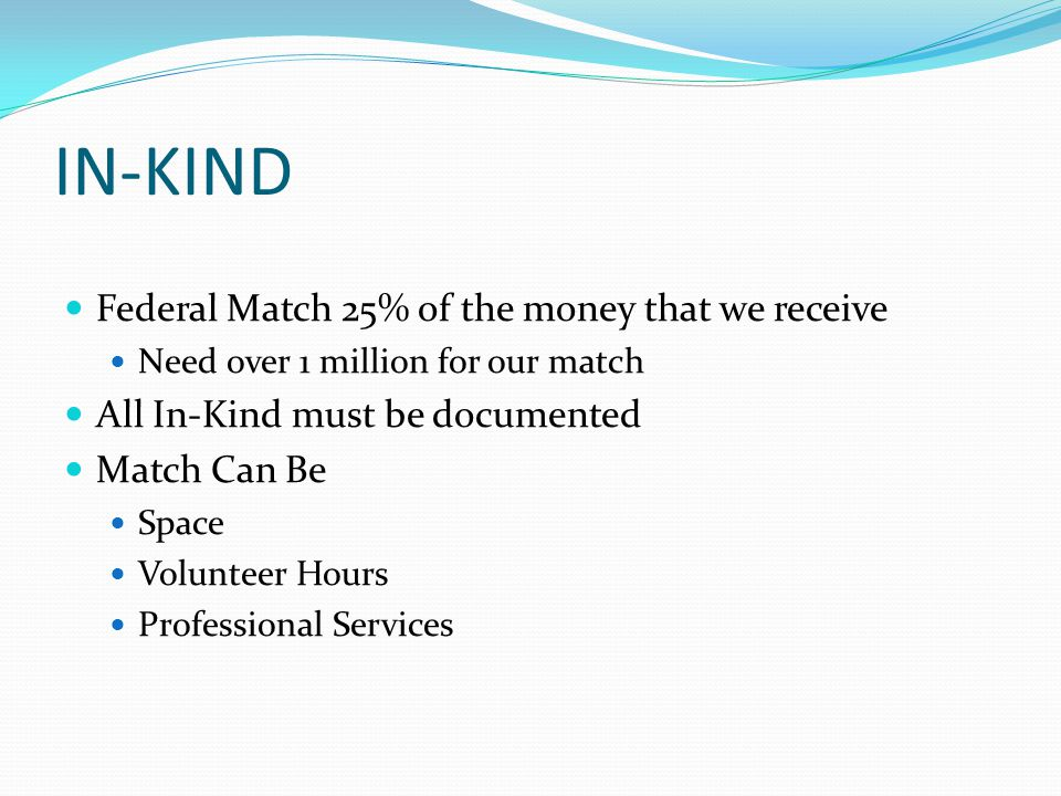 IN-KIND Federal Match 25% of the money that we receive Need over 1 million for our match All In-Kind must be documented Match Can Be Space Volunteer Hours Professional Services
