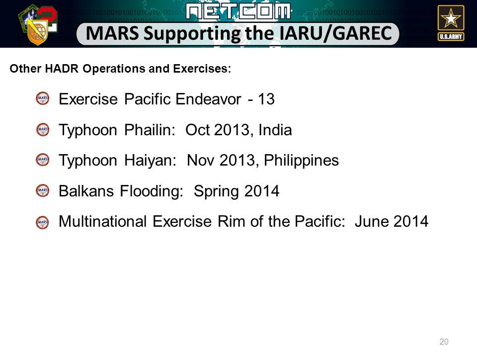 Exercise Pacific Endeavor - 13 Typhoon Phailin: Oct 2013, India Typhoon Haiyan: Nov 2013, Philippines Balkans Flooding: Spring 2014 Multinational Exer