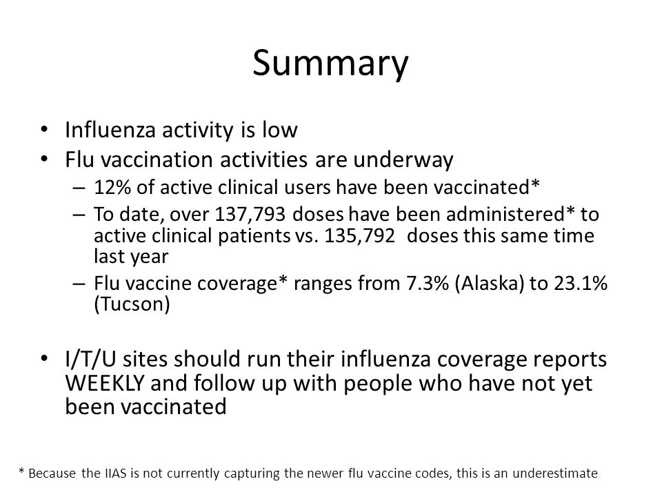 Summary Influenza activity is low Flu vaccination activities are underway – 12% of active clinical users have been vaccinated* – To date, over 137,793 doses have been administered* to active clinical patients vs.