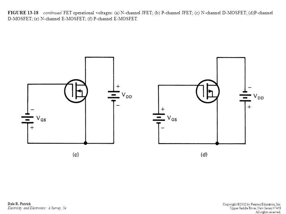 FIGURE 13-18 continued FET operational voltages: (a) N-channel JFET; (b) P-channel JFET; (c) N-channel D-MOSFET; (d)P-channel D-MOSFET; (e) N-channel E-MOSFET; (f) P-channel E-MOSFET.