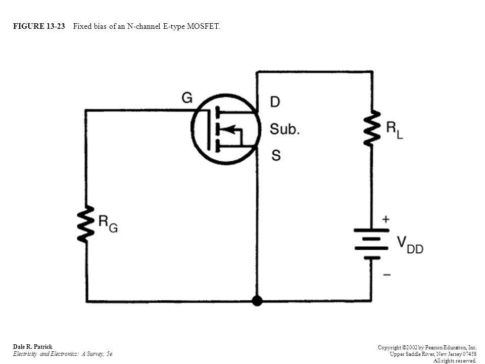 FIGURE 13-23 Fixed bias of an N-channel E-type MOSFET.