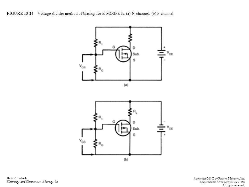 FIGURE 13-24 Voltage-divider method of biasing for E-MOSFETs: (a) N-channel; (b) P-channel.