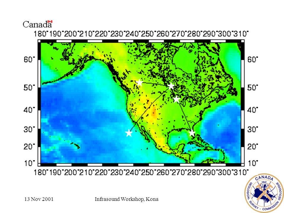 13 Nov 2001Infrasound Workshop, Kona Recorded sources