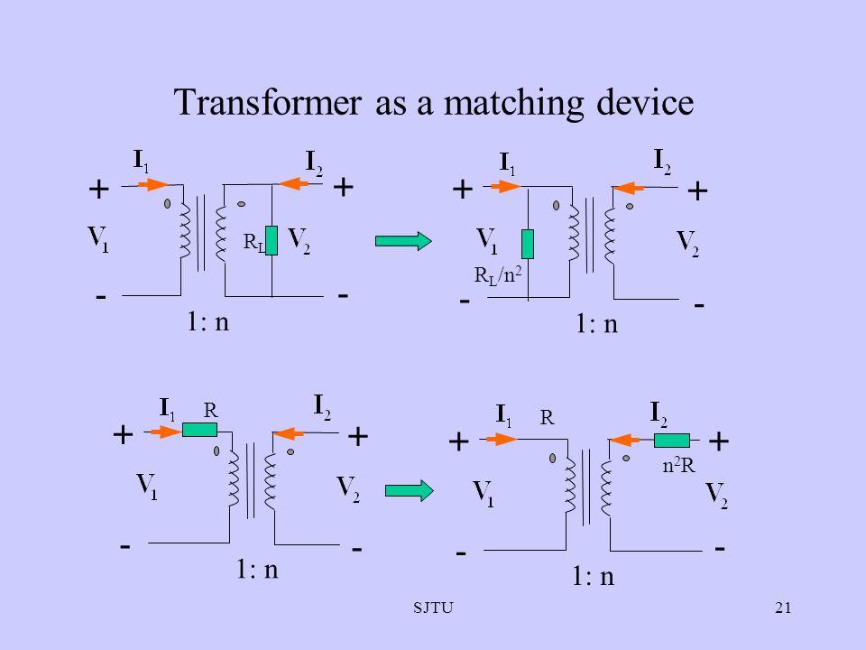 SJTU21 Transformer as a matching device + - + - 1: n RLRL - + - + R L /n 2 + - + 1: n R - + - + R - n2Rn2R