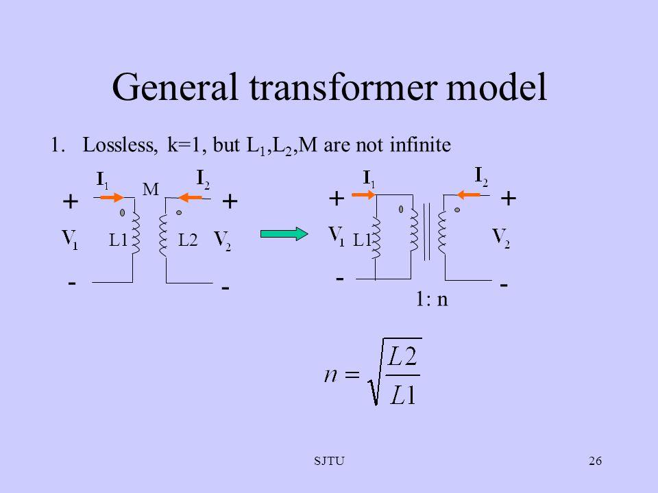 SJTU26 General transformer model 1.Lossless, k=1, but L 1,L 2,M are not infinite + - + - L1L2 M + - + - 1: n L1