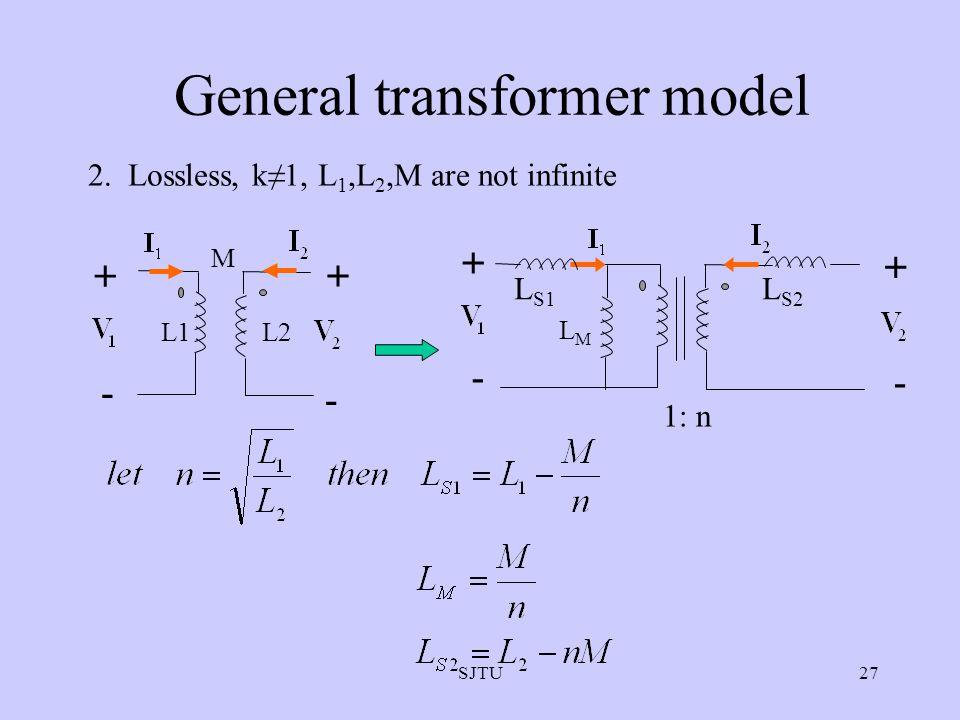 SJTU27 General transformer model 2. Lossless, k≠1, L 1,L 2,M are not infinite + - + - L1L2 M + - + - 1: n LMLM L S1 L S2