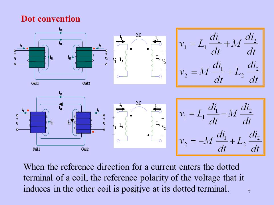 7 When the reference direction for a current enters the dotted terminal of a coil, the reference polarity of the voltage that it induces in the other coil is positive at its dotted terminal.
