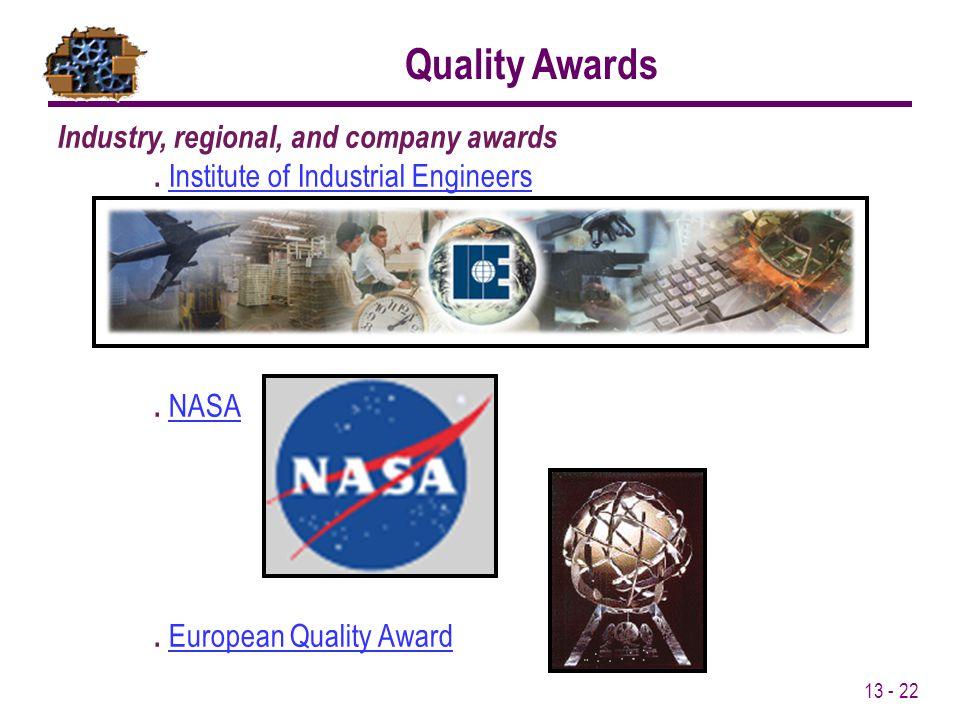 13 - 22 Industry, regional, and company awards. Institute of Industrial EngineersInstitute of Industrial Engineers. NASANASA. European Quality AwardEu