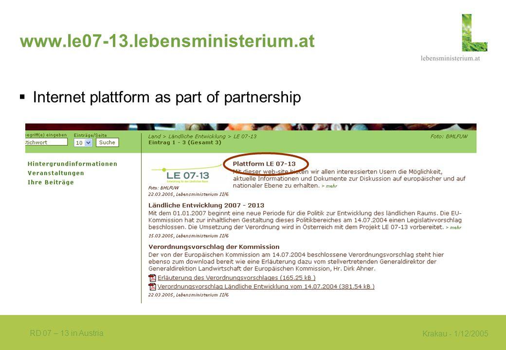 Krakau - 1/12/2005 RD 07 – 13 in Austria www.le07-13.lebensministerium.at  Internet plattform as part of partnership