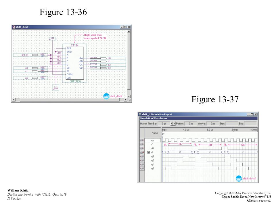 Figure 13-36 Figure 13-37 William Kleitz Digital Electronics with VHDL, Quartus® II Version Copyright ©2006 by Pearson Education, Inc. Upper Saddle Ri