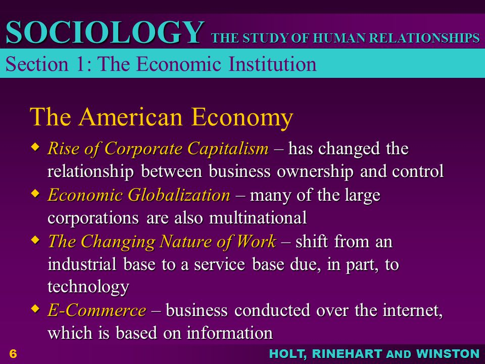 THE STUDY OF HUMAN RELATIONSHIPS SOCIOLOGY HOLT, RINEHART AND WINSTON 6 The American Economy  Rise of Corporate Capitalism – has changed the relation