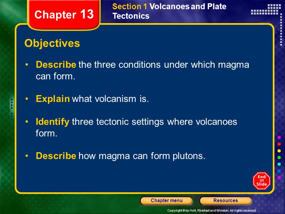 Copyright © by Holt, Rinehart and Winston. All rights reserved. ResourcesChapter menu Section 1 Volcanoes and Plate Tectonics Chapter 13 Objectives De