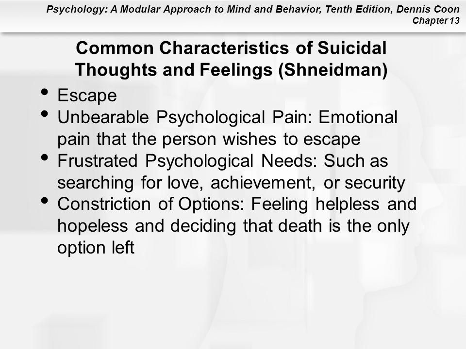 Psychology: A Modular Approach to Mind and Behavior, Tenth Edition, Dennis Coon Chapter 13 Common Characteristics of Suicidal Thoughts and Feelings (S