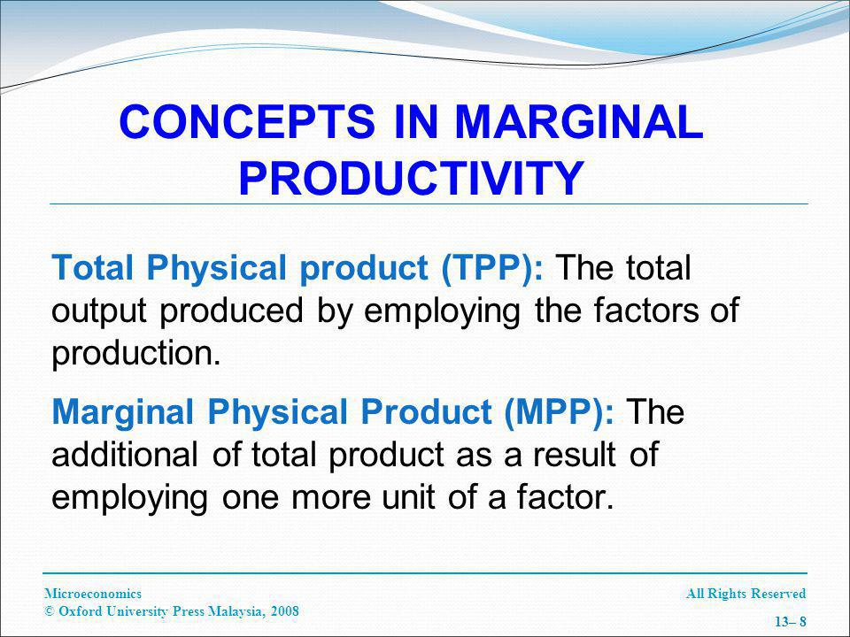 All Rights ReservedMicroeconomics © Oxford University Press Malaysia, 2008 13– 19 MEASUREMENT OF MARGINAL COST AND REVENUE OF LABOUR Marginal factor cost (MFC L ): The amount an additional unit of variable unit (L) adds to the total cost.
