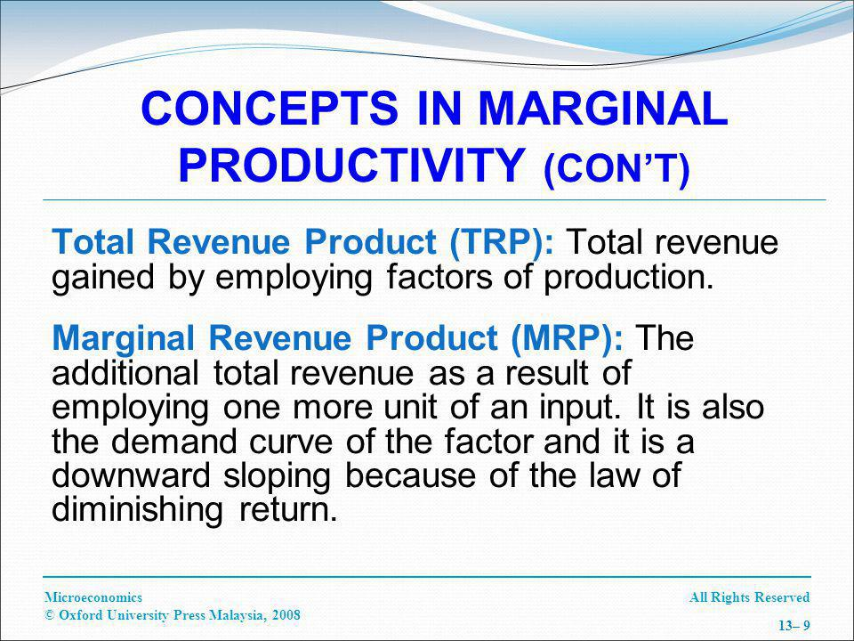All Rights ReservedMicroeconomics © Oxford University Press Malaysia, 2008 13– 30 SUBSTITUTION EFFECTS OF A CHANGE IN THE REAL WAGE (CON'T) Substitution Effect (SE): Effect of increase in w on the hours of leisure is to reduce it.