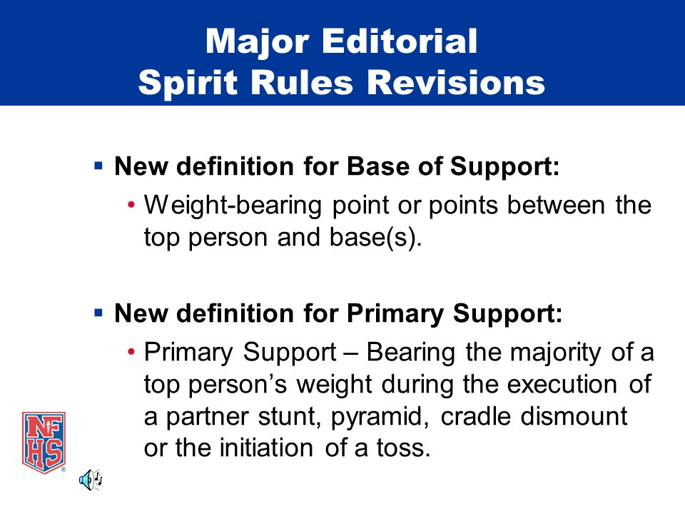 Major Editorial Spirit Rules Revisions  New definition for Base of Support: Weight-bearing point or points between the top person and base(s).