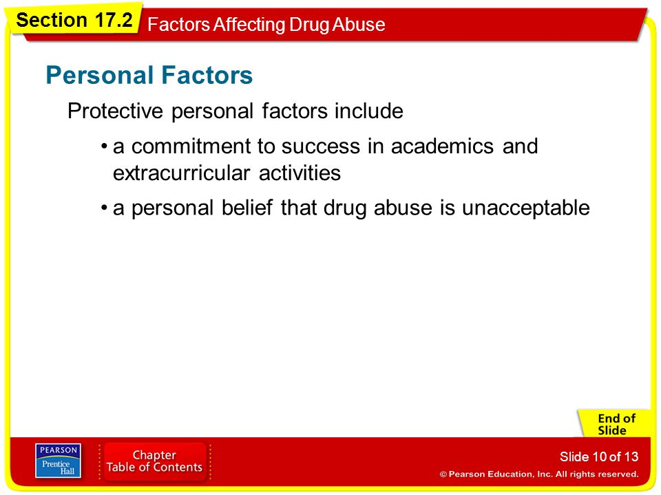Section 17.2 Factors Affecting Drug Abuse Slide 10 of 13 Protective personal factors include Personal Factors a commitment to success in academics and