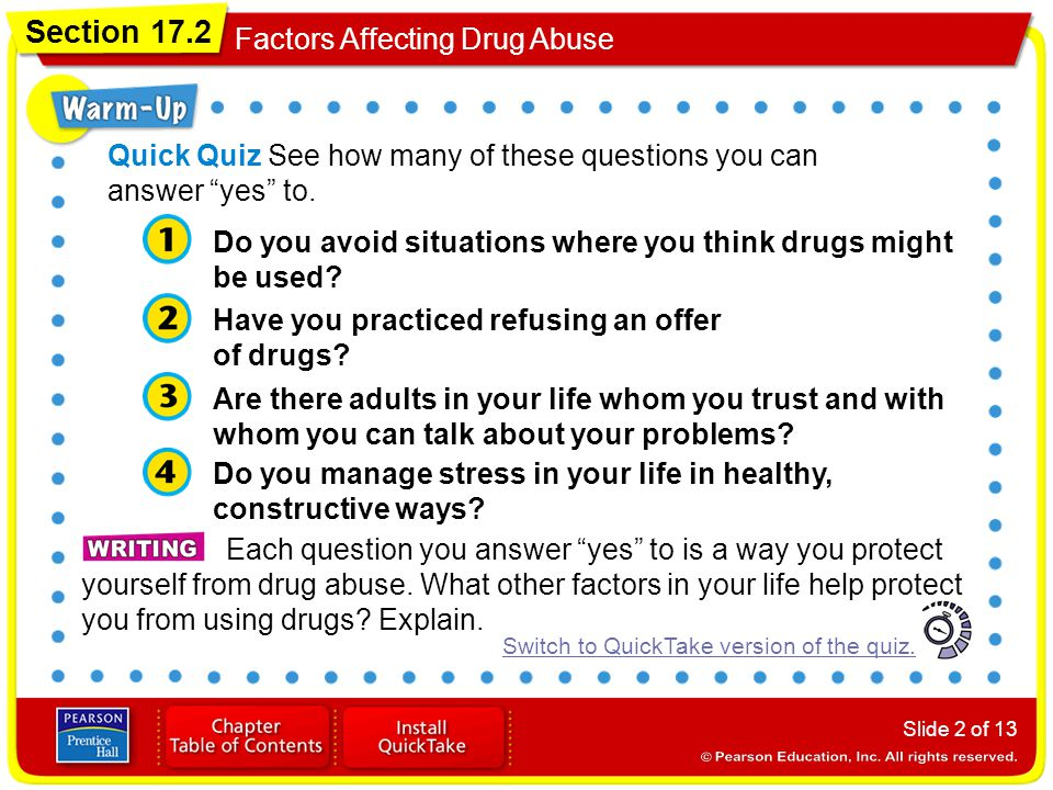"Section 17.2 Factors Affecting Drug Abuse Slide 2 of 13 Each question you answer ""yes"" to is a way you protect yourself from drug abuse. What other fa"