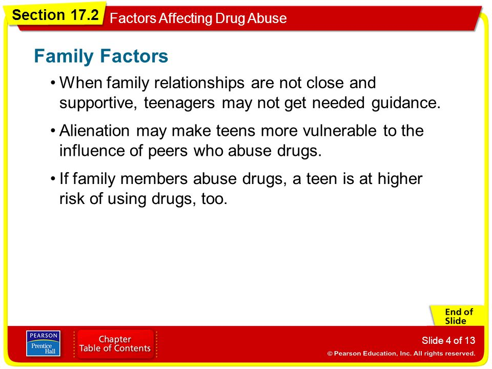 Section 17.2 Factors Affecting Drug Abuse Slide 4 of 13 When family relationships are not close and supportive, teenagers may not get needed guidance.