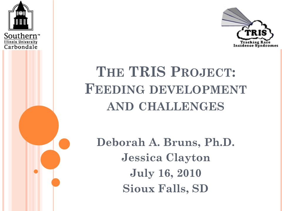 T HE TRIS P ROJECT : F EEDING DEVELOPMENT AND CHALLENGES Deborah A.