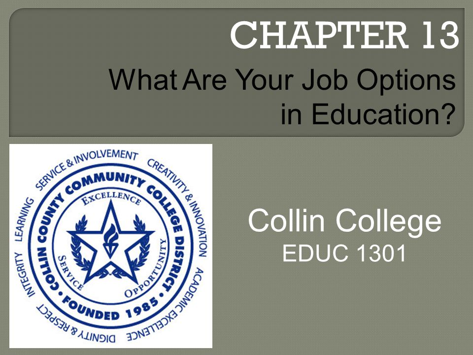 CHAPTER 13 Collin College EDUC 1301 What Are Your Job Options in Education