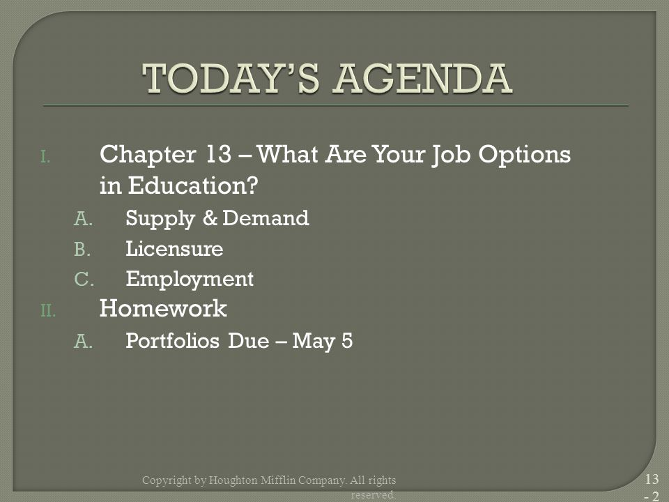 I. Chapter 13 – What Are Your Job Options in Education.