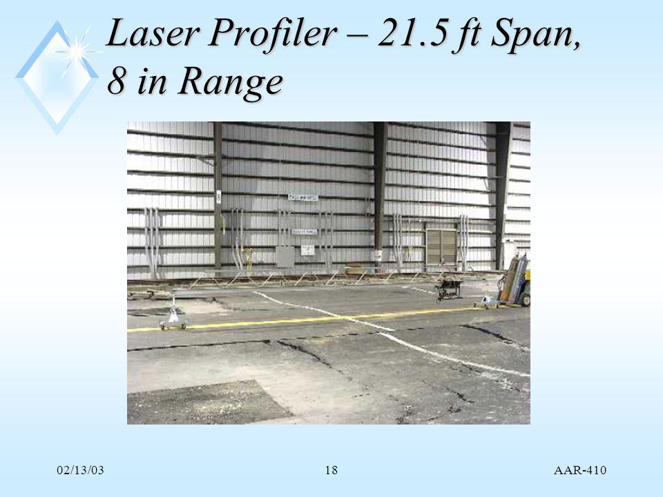 AAR-410 02/13/0318 Laser Profiler – 21.5 ft Span, 8 in Range