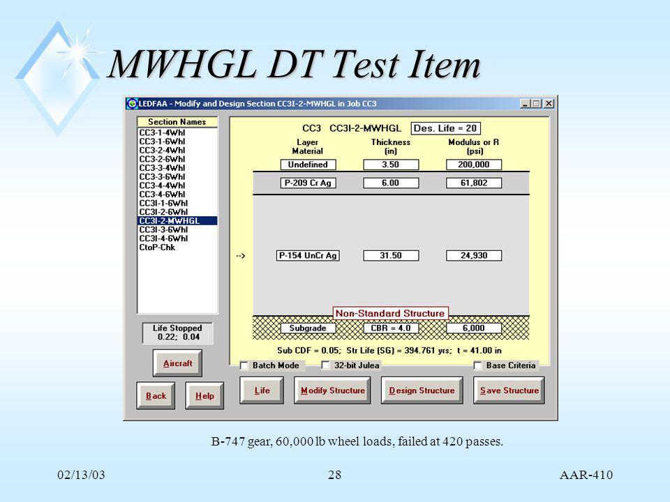 AAR-410 02/13/0328 MWHGL DT Test Item B-747 gear, 60,000 lb wheel loads, failed at 420 passes.