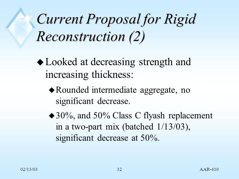 AAR-410 02/13/0332 Current Proposal for Rigid Reconstruction (2) u Looked at decreasing strength and increasing thickness: u Rounded intermediate aggregate, no significant decrease.