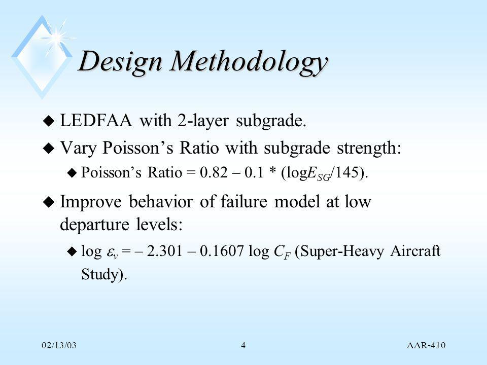 AAR-410 02/13/034 Design Methodology u LEDFAA with 2-layer subgrade.