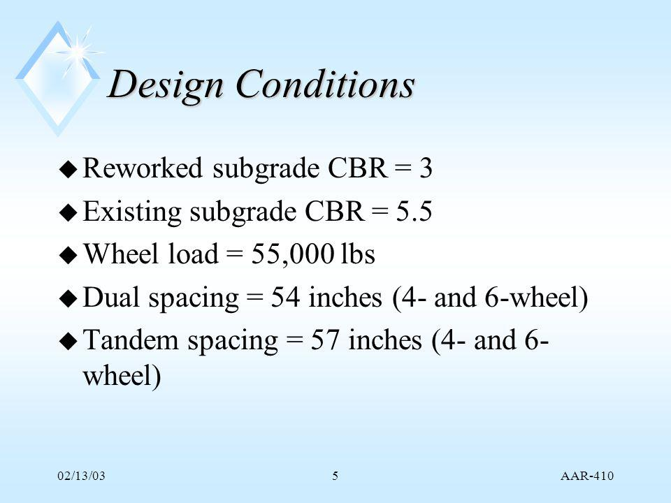 AAR-410 02/13/0336 Current Proposal for Rigid Reconstruction (3) u One more batch at 70% flyash replacement.
