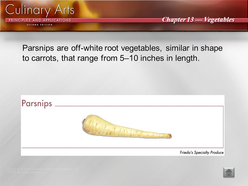 Chapter 13 — Vegetables Carrots are elongated root vegetables that are rich in vitamin A and come in many colors.