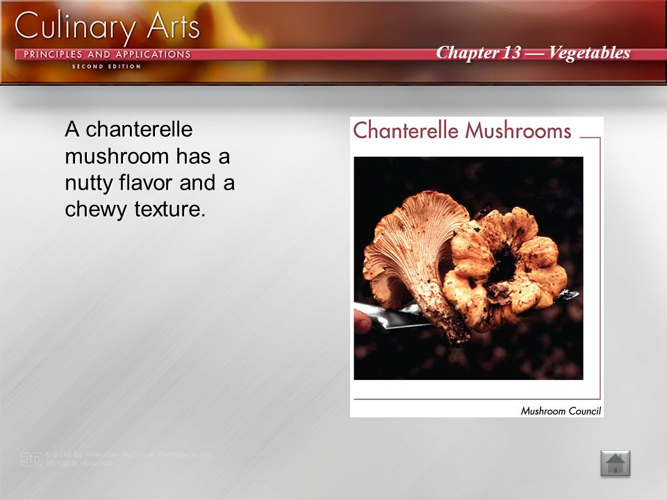 Chapter 13 — Vegetables An oyster mushroom is a broad, fanlike or oyster- shaped mushroom that varies in color from white to gray or tan to dark brown