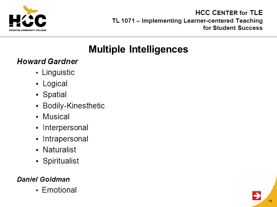 HCC C ENTER for TLE TL 1071 – Implementing Learner-centered Teaching for Student Success Multiple Intelligences Howard Gardner Linguistic Logical Spatial Bodily-Kinesthetic Musical Interpersonal Intrapersonal Naturalist Spiritualist Daniel Goldman Emotional 10