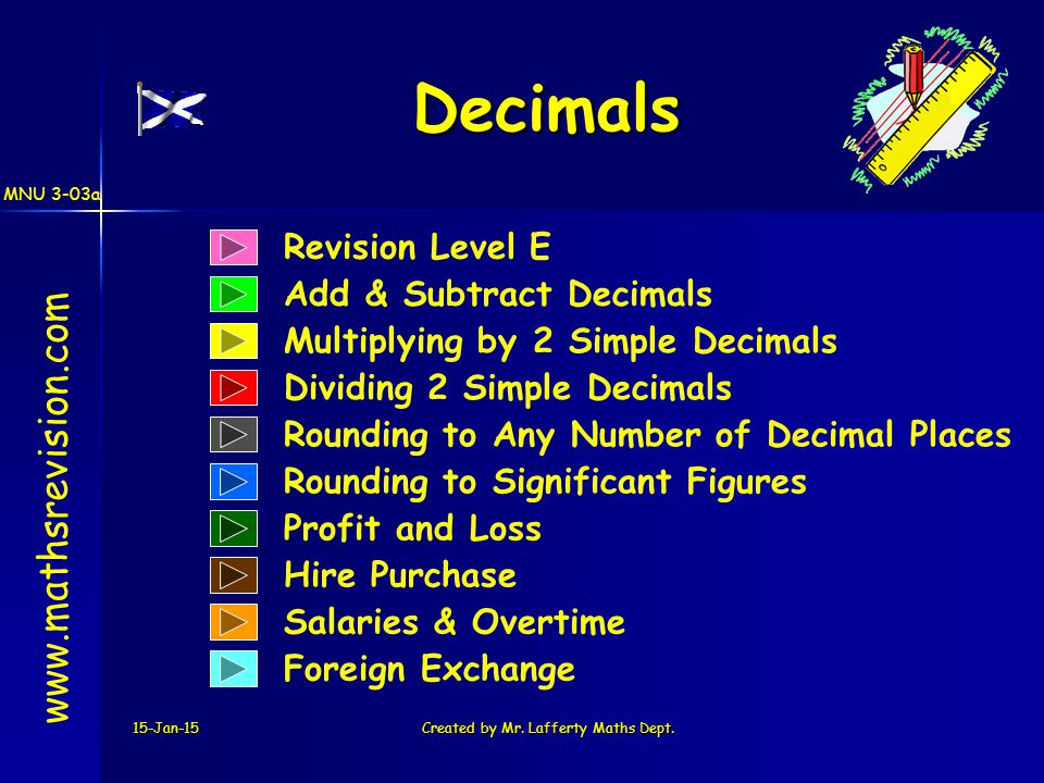MNU 3-03a 15-Jan-15Created by Mr. Lafferty Maths Dept. Revision Level E Add & Subtract Decimals Decimals www.mathsrevision.com Multiplying by 2 Simple