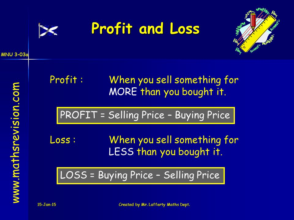 MNU 3-03a 15-Jan-15Created by Mr. Lafferty Maths Dept. Profit and Loss Profit :When you sell something for MORE than you bought it. Loss :When you sel