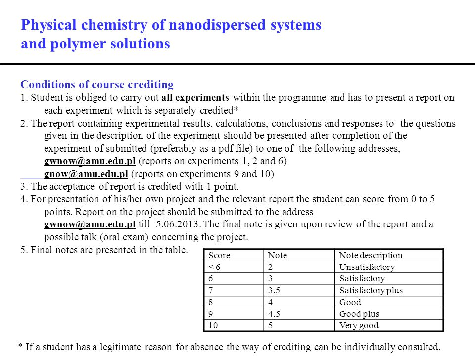 Physical chemistry of nanodispersed systems and polymer solutions Conditions of course crediting 1.