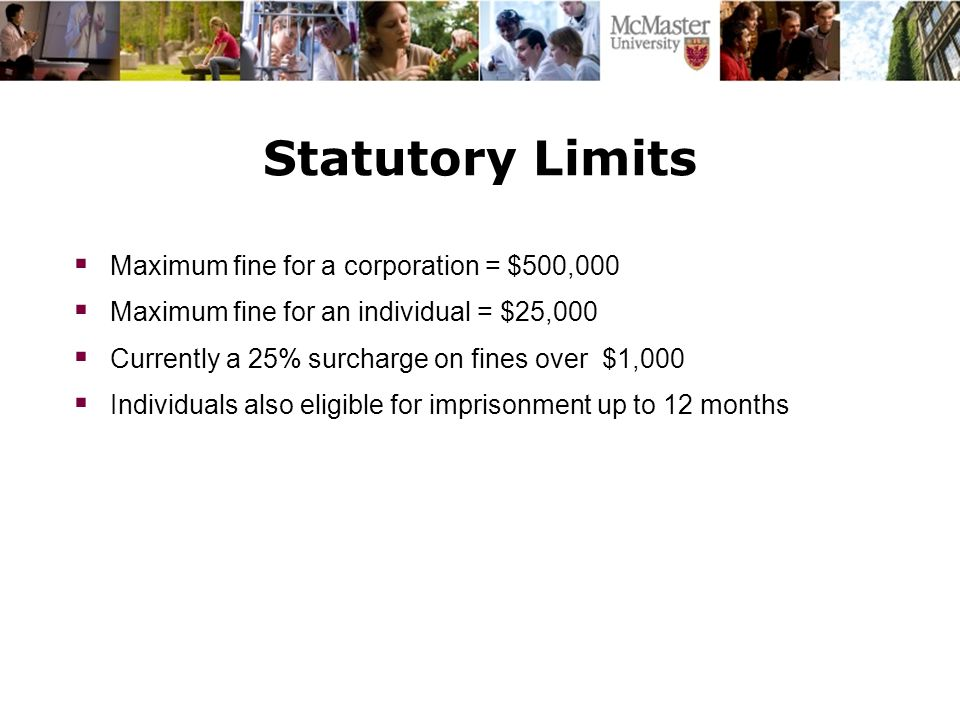 Statutory Limits  Maximum fine for a corporation = $500,000  Maximum fine for an individual = $25,000  Currently a 25% surcharge on fines over $1,000  Individuals also eligible for imprisonment up to 12 months