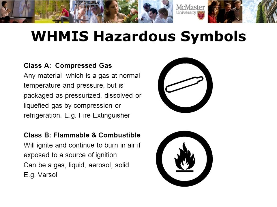 WHMIS Hazardous Symbols Class A: Compressed Gas Any material which is a gas at normal temperature and pressure, but is packaged as pressurized, dissol