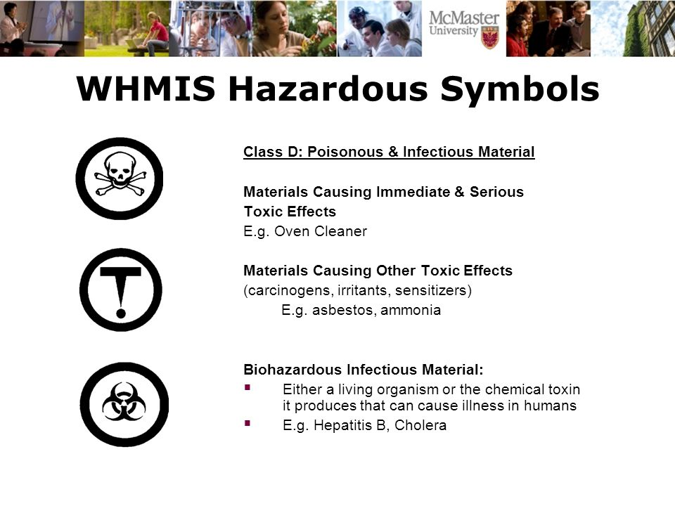 WHMIS Hazardous Symbols Class D: Poisonous & Infectious Material Materials Causing Immediate & Serious Toxic Effects E.g. Oven Cleaner Materials Causi