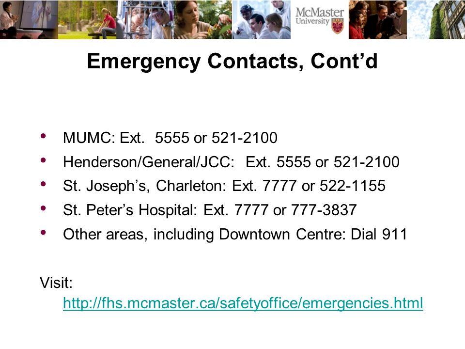 MUMC: Ext.5555 or 521-2100 Henderson/General/JCC: Ext.