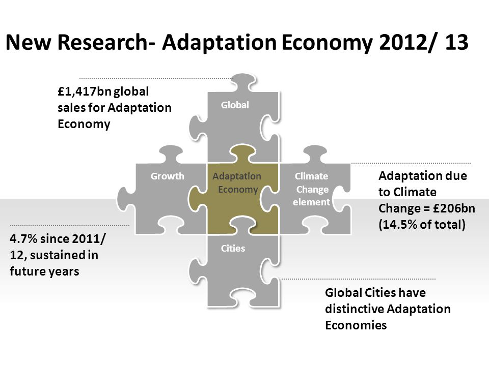 New Research- Adaptation Economy 2012/ 13 Global GrowthClimate Change element Cities £1,417bn global sales for Adaptation Economy 4.7% since 2011/ 12, sustained in future years Adaptation due to Climate Change = £206bn (14.5% of total) Global Cities have distinctive Adaptation Economies Adaptation Economy