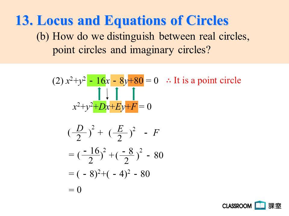 = ( - 8) 2 +( - 4) 2 - 80 x 2 +y 2 +Dx+Ey+F = 0 -8-8 2 ( ) 2 + - 80 - 16 2 ( ) 2 = 0 = ∴ It is a point circle (2) x 2 +y 2 - 16x - 8y+80 = 0 E 2 ( ) 2